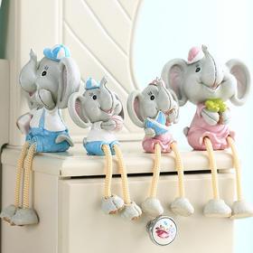四口之家可爱小象装饰摆件