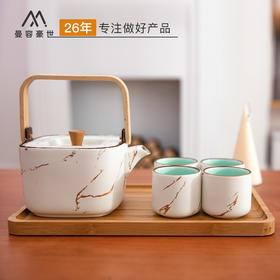 禅意日式大茶壶套装提梁壶水具茶杯家用陶瓷泡茶壶1壶4杯