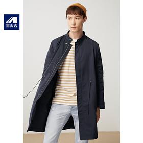 墨麦客男装秋季新款男士长袖立领宽松中长款风衣夹克外套男潮流