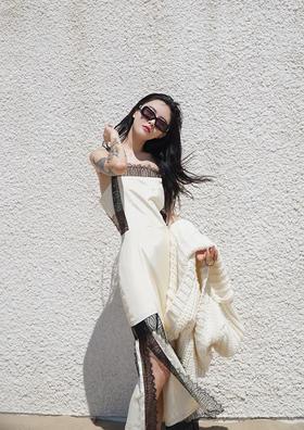 女名星杏仁蛋奶黄艺术蕾丝吊带长裙