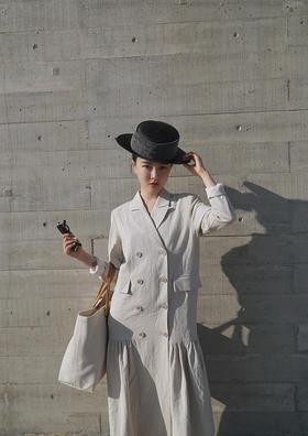 gentlewomen气质女人中性优雅西服棉麻长外套可做连衣裙