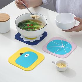 【卡通隔热垫4个装】家用防水餐桌杯垫餐厅硅胶防烫软茶咖啡碗垫