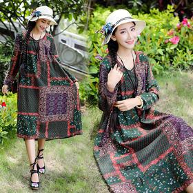 新款民族风女装棉麻长袖高腰宽松连衣裙