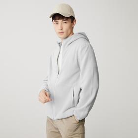 墨麦客男装2019秋季新款摇粒绒合体纯色长袖连帽夹克外套简约8612