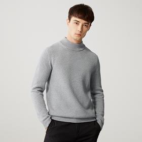 墨麦客男装2019秋季新款合体纯色长袖半高领针织衫毛衣复古2239