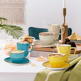 陶瓷咖啡杯套装马克杯三色可选简约创意家用杯碟3件套