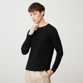墨麦客男装2019秋季新款纯羊毛合体纯色长袖圆领羊毛衫简约2990