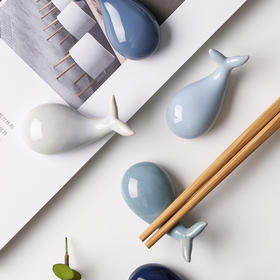 日式创意鲸鱼陶瓷筷架筷托可爱勺子架勺托筷子架筷枕家用餐具