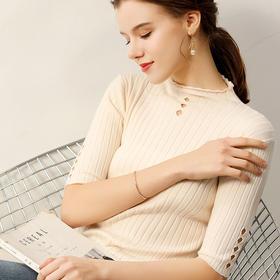 2019新款中袖针织衫抽条镂空修身套头打底衫百搭毛衣女装 JIANGNAN-9606坑条