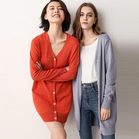 女士秋季中长款宽松毛针织衫显瘦外套开衫V领毛衣防晒衫长袖薄款 A706