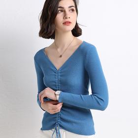 秋冬新款大V领套头毛衣女针织衫打底衫系带抽绳修身收腰性感上衣
