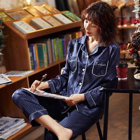 睡衣女秋冬季新款仿真丝女士居家服长袖睡衣女套装【A5020A】