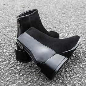 MRING新款英伦风马丁靴切尔西百搭短靴韩版休闲粗跟马丁靴