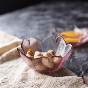 日式磨砂透明玻璃甜品碗小食碟点心碗酱料碟 樱花爱心玫瑰