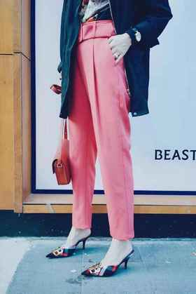 MAISON COVET自有品牌 高腰造型西装裤(附腰带)