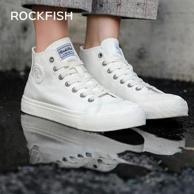 【2020春季爆款新品 防泼水面料  隐形增高】英国Rockfish 休闲户外 防泼水高帮款帆布鞋