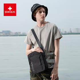 Swiza百年瑞士单肩包男士休闲运动斜挎包大容量帆布百搭背包 黑色