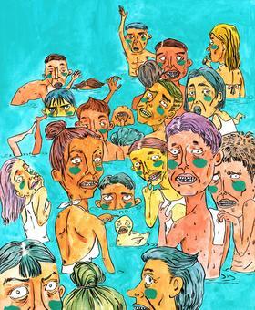 限量版画《游泳的人和你》1.2:1,版数99 李诗cisilee 35x48cm