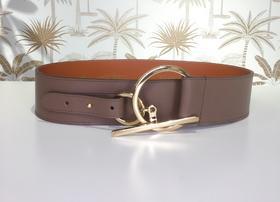 Maison Boinet  棕色牛皮细节扣宽腰带