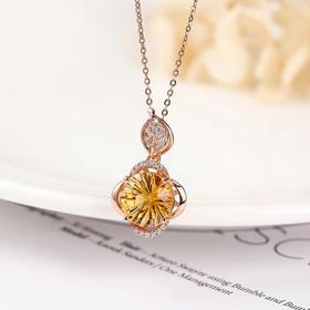焰火*天然黄水晶925银镶嵌吊坠(赠银链)