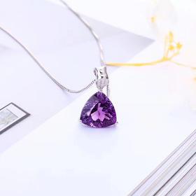 紫烟*紫晶项坠S925银镶嵌(赠同色银链)
