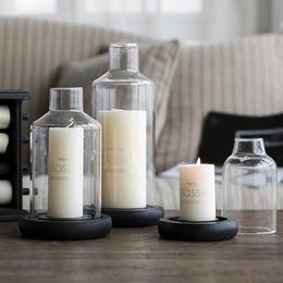 碧轩创意现代透明时尚底座玻璃罩香薰蜡烛台欧式创意玻璃装饰品摆件