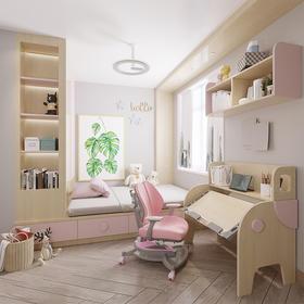 广州实木儿童房改造学习桌收纳柜书柜定制