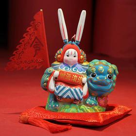 泥塑彩绘兔儿爷——AB双面兔儿爷麒麟款