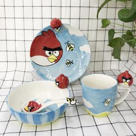 东哥好物推荐-严选品质 愤怒的小鸟系列儿童创意陶瓷碟盘碗杯勺套装