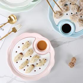 东哥好物推荐-严选品质 水饺盘子沥水双层带醋碟蒸盘圆形创意家用早餐ins网红家用水果盘