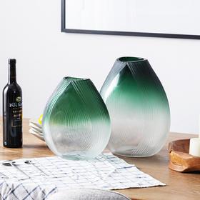 北欧美式摆件客厅家居装饰品 手工吹制绿色玻璃花瓶艾比