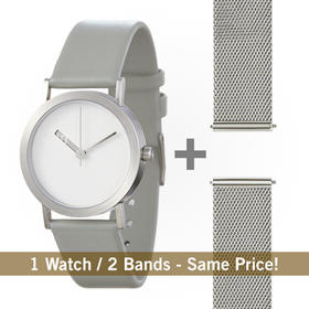 normal 镂空指针设计,很不简单系列腕表|银盘双表带套装(日本)