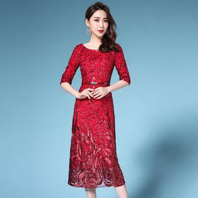 SL-Q5266新款时尚简约圆领连衣裙TZF(配腰带)