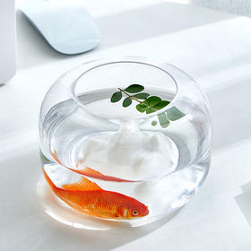 H&3 家用办公室桌面加厚透明玻璃圆形迷你小型金鱼缸