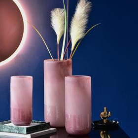 贝克系列现代简约彩色磨砂玻璃花瓶客厅摆件餐桌插花花器