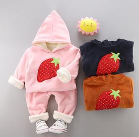 【童装】女宝宝草莓连帽两件套