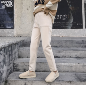 【休闲裤】新款裤子米白色毛呢裤女高腰小脚九分萝卜裤休闲裤哈伦裤