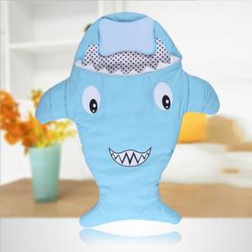 【婴儿用品】现货婴儿鲨鱼睡袋宝宝防踢被户外儿童睡袋带枕头推车被