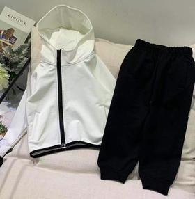 【童装】新款勾子儿童连帽拉链开衫套装
