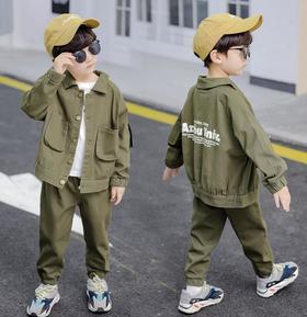 【童装】新款军绿色男童工装套装