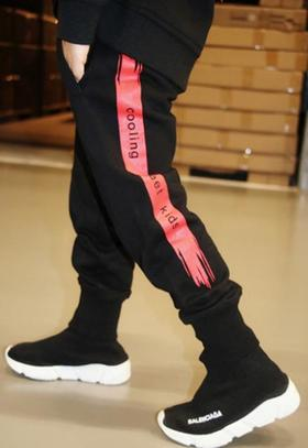 【童装】秋新款黑色时尚潮流运动抽绳休闲裤子