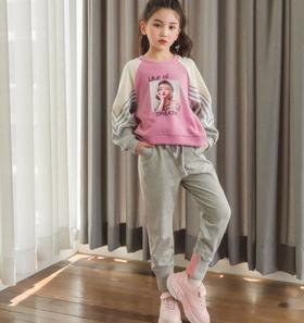 【童装】新款时尚女童长袖拼色卫衣套装