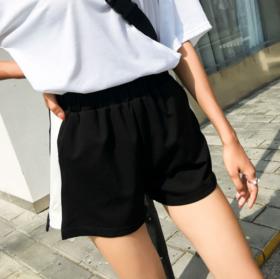 【休闲裤】夏季新款高腰宽松显瘦侧白边运动裤女短裤阔腿裤休闲裤女