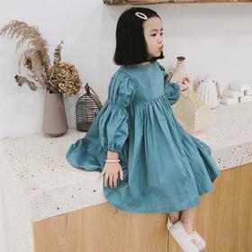 【童装】秋款新款百褶长袖公主洋气泡泡袖连衣裙