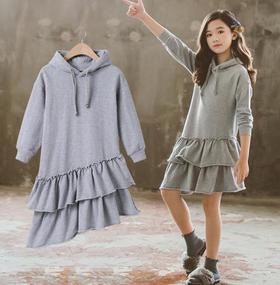 【童装】中大童木耳边斜下摆带帽连衣裙
