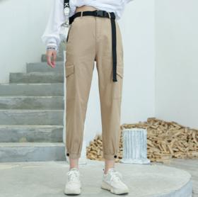 【休闲裤】秋冬工装裤女宽松直筒九分裤 2019新款韩版中腰休闲裤子