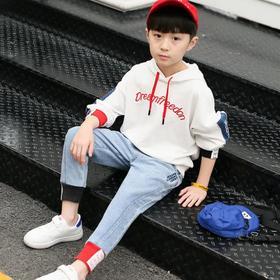 【童装】男童刺绣牛仔拼布连帽套装
