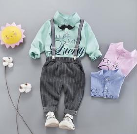 【童装】秋季套装 韩版童衬衫背带两件套