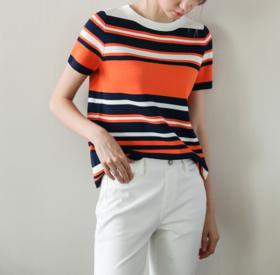 【针织衫】2019新款拼色条纹短袖t恤女圆领冰丝撞色针织衫宽松显瘦薄款上衣