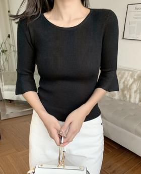 2019新款秋季喇叭袖圆领五分袖针织衫女装修身紧身中袖打底衫毛衣